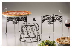Stand A: Black Square Scroll Pizza Stand
